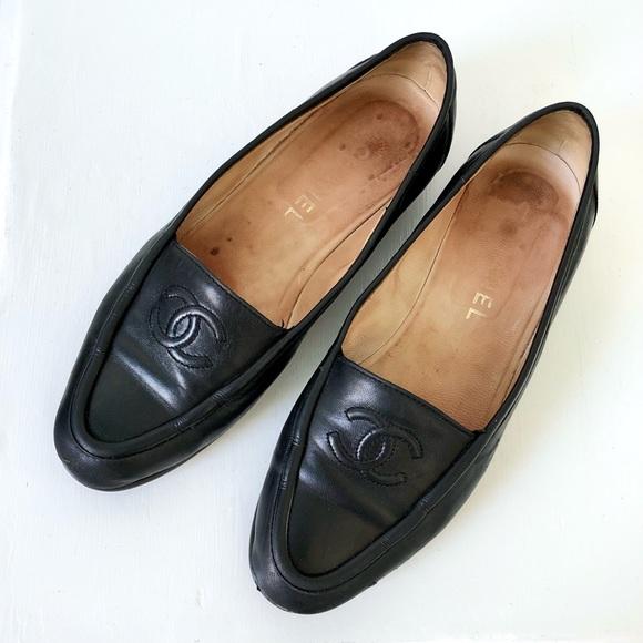 Chanel Vintage Interlocking C Leather Loafers
